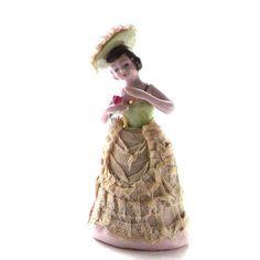 pretty antique figurines | Vintage Porcelain Figurine Victorian Lady Dresden Style Lace Dress