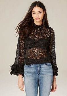 Lace Ruffle Sleeve Top - All Tops   bebe