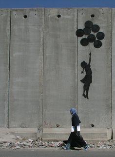 Banksy  Ballon girl on Gaza wall
