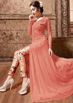 Pink Net and Silk Front Slit Anarkali Kameez With Pant
