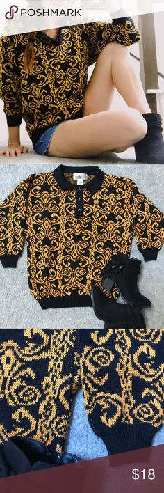 ✨NEW ARRIVAL✨Black and Gold vintage sweater Ugh drooling over this sweater friends  Cozy, soft, folded collar with three buttons   Amazing gold color  Hey friend! ✌🏼 🙅🏼no trades unless stated in description  🐕pet friendly home  ✨don't forget to bundle & SAVE 💚always with love from my closet to yours partners II Sweaters