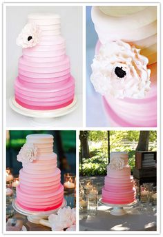 ruffle cake idea. Love the ombre thing, would really like a ruffle cake layer in my wedding cake!