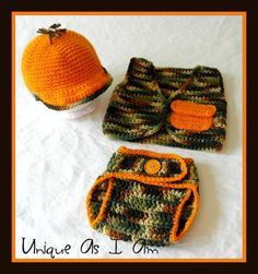 Crocheted Baby Hunting Hat and Vest by UniqueAsIAm on Etsy, $32.00