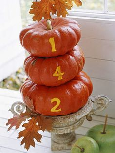 Grab attention by writing your house number on stackable pumpkins!