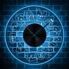 Tailing Labrador Wall Clock Cartoon Dog Decor Acrylic Time Silently Black