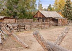 The stables and pen/corral in front of Jo's cabin. This is how I picture it for the most part. There is more grass surrounding the fenced in areas. Old Fences, Unique Gardens, Stables, Things That Bounce, Abandoned, Westerns, Gate, This Is Us, Shed
