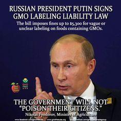 We may not agree with Russia on many things, but they have it right on GMOs.  READ: http://sustainablepulse.com/2015/01/03/russian-president-putin-signs-gmo-labeling-liability-law/#.VKgtZmTF_nJ  #Russia #Putin #GMOLabelingLiabilityLaw #GMOPoison #labelgmos #boycottGMOs #BanGMOs #freedom2chooz #NeedtoknowGMO #foodrebel #gmofreecanada #gmofreeusa