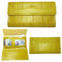 Uxury Genuine Eel Skin Leather Trifold Wallet With Coin Purse Wallet Yellow