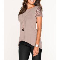 Plus Size Sequins T Shirt Women 2016 O-Neck Summer Tops Short Sleeve Fashion T-Shirt Casual Tee Shirt Femme poleras de mujer Shirt Diy, Trendy Outfits, Fashion Outfits, Fashion Blouses, Fashion Skirts, Fashion Ideas, Female Shorts, Sequin Shorts, Sequin Top