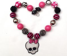 Draculaura Monster High Inspired Chunky Necklace Bubblegum Bead Necklace Halloween necklace Girls Chunky Necklace