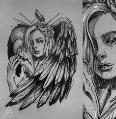 Beauty with vulture sketch by Tattoo Sketches, Tattoo Drawings, Drawing Sketches, Vintage Mermaid, Mermaid Art, Mermaid Paintings, Angel Demon Tattoo, Body Art Tattoos, Sleeve Tattoos