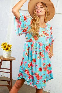 Sky Blue Floral Flutter Sleeve Midi Dress Floral Tops, Floral Prints, Midi Dress With Sleeves, Little Dresses, Dress First, Flutter Sleeve, Plus Size Women, Dress Making, Girl Outfits