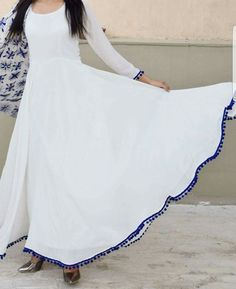 Not jst a cloth. Pakistani Dresses Casual, Indian Dresses, Indian Outfits, White Anarkali, Anarkali Dress, Churidar Designs, Kurti Designs Party Wear, Mode Hijab, Indian Designer Wear