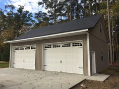 Superior Buildings built this pole building residential garage with a custom octagon cupalo with glass in Edinburg, VA. Metal Garage Buildings, Pole Buildings, Metal Garages, Shop Buildings, Steel Buildings, Pole Barn Garage, Wood Garage Doors, Garage Door Design, Metal Shop Building