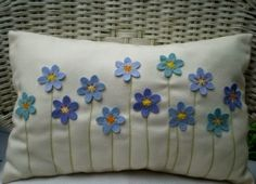 Sewing Pillows Items similar to Decorative Pillow - Turquoise and Blue Felt Flower Bouquet, Stitched Stems, Rectangular on Etsy - Felt Cushion, Felt Pillow, Quilted Pillow, Felt Flower Pillow, Patchwork Pillow, Applique Cushions, Crochet Cushions, Sewing Pillows, Embroidered Pillows