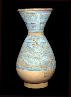 ♔ Blue painted pot from Tell el Amarna ~ Egypt ~ 18th dynasty.