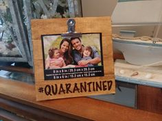2020 #Quarantined Rustic Engraved  Wood 4 x 6 Picture Photo Clip Frame