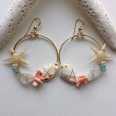 Starfish Hoop Earrings, Sea Glass Earrings, Real Starfish Earrings, Shell Hoops…