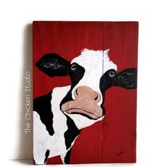Cow Art Original Painting Farm Art Cow Head by TheChickenStudio