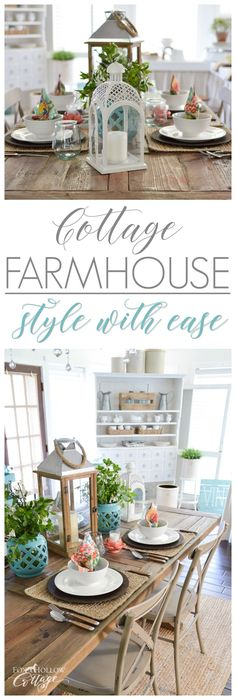 Easy cottage farmhouse decorating ideas - colorful fun farm table setting for versatile, affordable entertaining with Better Homes & Gardens goods from Walmart! See more at www.foxhollowcottage.com #sponsored #BHGatWalmart #cottagestyle #farmhouse #farmtable #cottagekitchen #decoratingideas