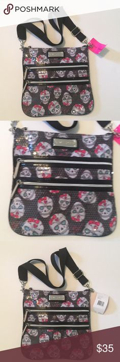 Sugar Skull Betsey Purse NWT Rocker chic & Great crossbody Bag! Betsey style all the way! Pretty, Girly & Cool! Betsey Johnson Bags Crossbody Bags