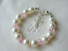 Pink Baby Bracelet for Christening Baptism by CharlotteJewelryBox, $38.00