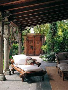 Patio with a Mediterranean design Patio Design, Exterior Design, House Design, Garden Design, Design Jardin, Landscaping Design, Chair Design, Outdoor Rooms, Outdoor Decor
