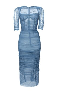 Stretch Cotton Tulle Ruched Dress by DOLCE & GABBANA Now Available on Moda Operandi