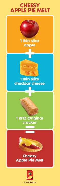 Cheesy apple pie on a RITZ? No problem! This mini version of an All-American classic is easy to make and sure to satisfy tastebuds. A slice of apple and melted cheddar cheese is all you need.