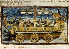 Medieval Imago & Dies Vitae Idade Media e Cotidiano    Cosmographia Scoti, Notitia dignitatum. Etc.  Country or nationality of origin: Italian and French. Place of origin:  Basel. Date: Dated 1436. Image description:  Liburna (transport ship propelled by oxen turning capstans).
