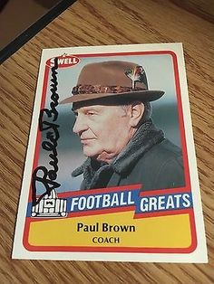 Paul Brown Cleveland Browns HOFer Signed 1989 Swell Card