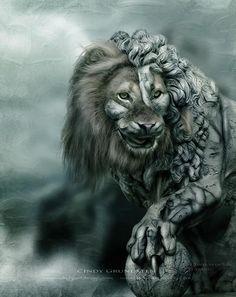 Half lion half lion statue
