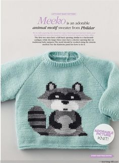 free pattern for the cute knitted baby Pullover sweater is British, and includes layout diagrams and charts for the adorable raccoon design Baby Boy Knitting Patterns, Jumper Patterns, Knitting For Kids, Baby Patterns, Free Knitting, Knitting Projects, Pull Bebe, Knit Baby Sweaters, Crochet Baby