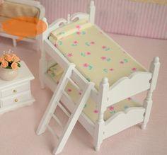 Beige Lovely Flower Pattern Children Bunk Bed Dollhouse Mini Furniture