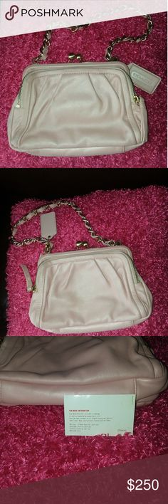 Authentic Coach clutch Pink pastel Coach clutch with dinky strap. In excellent condition. Bought years ago for a wedding.  Only carried it on special occasions.  Still have the care card that came with it. Two side zippers. Price is negotiable on all items in my closet. Accepting reasonable offers Coach Bags Clutches & Wristlets