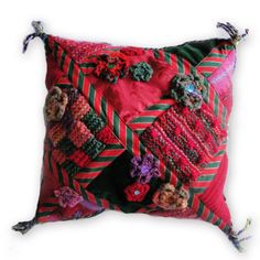 HAND MADE EXCLUSIVE CUSHION - UNIQUE DECORATIVE RED & GREEN PATCHWORK