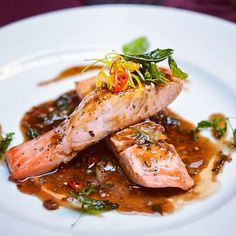 Salmon is super with a drizzle of our Mangonero Peach Sauce or Spicy Honey Mustard.  You don't need much and the flavor of the fish comes alive with either sauce.