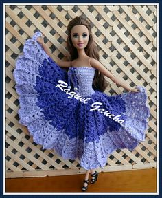 No meu blog tem mais. rachelcrochet.wordpress.com #Barbie #Crochet #Doll #Vestido #Dress #Muñeca #RaquelGaucha