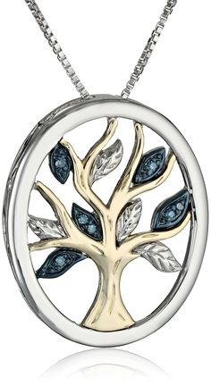 """Amazon.com: XPY Sterling Silver and 14k Yellow Gold Blue Diamond Tree of Life Pendant Necklace (0.03 cttw, I2-I3 Clarity), 18"""": Jewelry"""