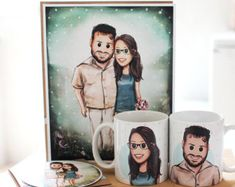 Pack: Couple mugs + print