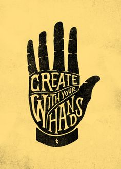 Create With Your Hands Mini Art Print by Vincent Cousteau - Without Stand - x Hand Kunst, Logo Design, Graphic Design, Design Design, Hand Art, Framed Art Prints, Badges, Art Quotes, Quotes Inspirational