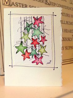 Christmas Stars Watercolor Original Little Card von betrueoriginals Watercolor Christmas Cards, Christmas Drawing, Diy Christmas Cards, Christmas Paintings, Watercolor Cards, Xmas Cards, Holiday Cards, Christmas Crafts, Christmas Stars