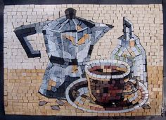 Mosaic Designs Kettle and Cups by Mozaico on Etsy