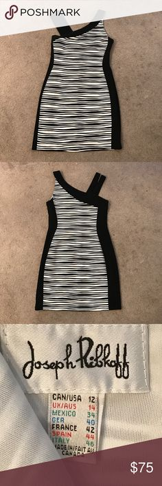 Joseph Ribkoff black & white fitted dress size 12 Fully lined.  Side zip.  Stretchy fabric. Joseph Ribkoff Dresses