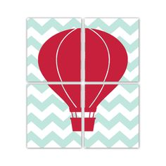 Hot Air Balloon Set of Prints Four 8x10 Chevron Prints. $50.00, via Etsy. Color 21 for background chevron and color 10 for hot air balloon :)