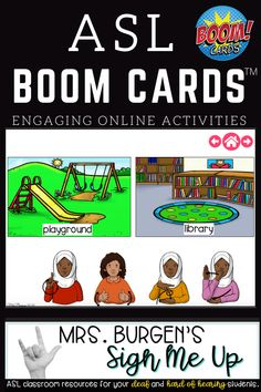 Engage your student in distance learning or during literacy centers with boom cards. Deaf and hard of hearing students are able to fully access these engaging ASL vocabulary builders. Resource Room Teacher, Special Education Teacher, Language School, Language Arts, School Places, Vocabulary Builder, Self Contained Classroom, American Sign Language, English Vocabulary
