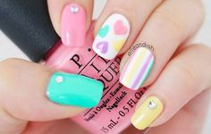 Pastel hearts nail art, cute Valentine's Day mani.  Image via We Heart It…