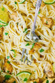 Chicken Pasta with Creamy Cilantro-Lime Sauce