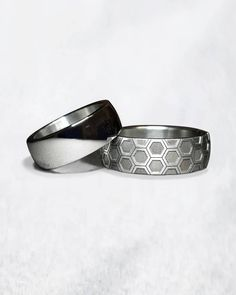 Hers and His. #PetriPulliainen  #weddingrings #geometricring #stainlesssteelring #mensrings #ringsformen #hexagonring Stainless Steel Rings, Rings For Men, Wedding Rings, Belt, Accessories, Instagram, Design, Fashion, Belts