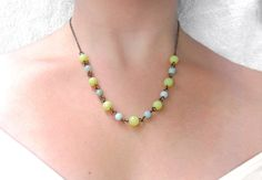 Quirky Boho Beaded Necklace - Lemon Jade - Amazonite - Statement Jewelry - BOHEME Collection. $37.90, via Etsy.